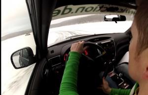 Michelin Winter Experience 2014 Subaru WRX STI Schwarz Cockpit Drift